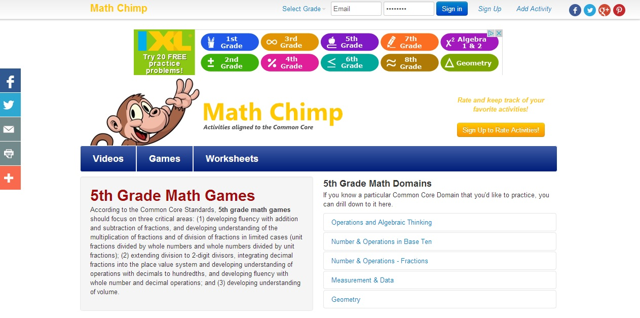 Mrs. Wingo\'s 5th Grade Math Class - Links